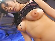Lovely Asian babe has her date playing with her big tits before they fuck