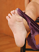 Athletic MILF Amanda c shows away her hot feet and spreads her ass