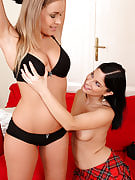 Golden-haired MILF Collette gets her groove on together with her brunette girl