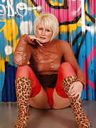 Beautiful MILF Sally T as part of red knickers and see through ideal posing