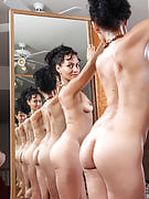 Hard bodied adult Liza Rene after 30 plus Ladies being artsy along with mirrors