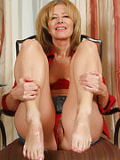 Smoking cigarettes hot 57 yr old Janet L poses together with her feet for the camera