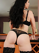 Showing away this girl trimmed mature crotch Kira spreads her round ass