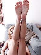 Horny blonde housewife strips and licks her beautiful adult feet