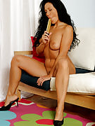 Tanned MILF Laura strips and plunges the vibrator deep at her vagina